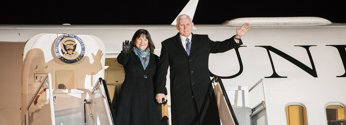 Vice President of the United States Michael R. Pence and wife Karen wave from Air Force II during his arrival at Yokota Air Base, Japan, Feb. 6, 2018. While in Japan, Pence is expected to visit Japanese officials including Prime Minister Shinzo Abe, meet with troops, and address Yokota Air Base service members before heading to South Korea for the Pyeongchang 2018 Winter Olympics.