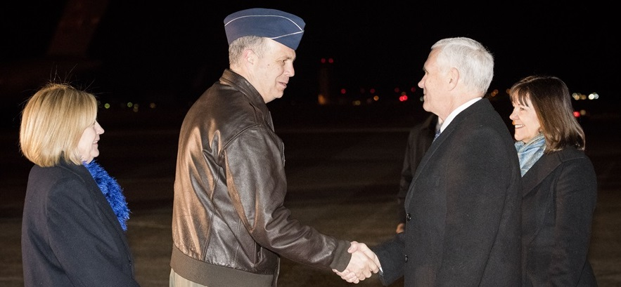 Lt. Gen. Jerry P. Martinez, Commander of United States Forces Japan greets Vice President of the United States Michael R. Pence during his arrival at Yokota Air Base, Japan, Feb. 6, 2018. While in Japan, Pence is expected to visit Japanese officials including Prime Minister Shinzo Abe, meet with troops, and address Yokota Air Base service members before heading to South Korea for the Pyeongchang 2018 Winter Olympics.