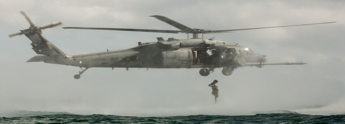 Marines conduct helocast training at Camp Hansen, Japan, June 3, 2019. The training consisted of jumping into the ocean out of an HH-60W Pave Hawk and then being lifted back into the helicopter.