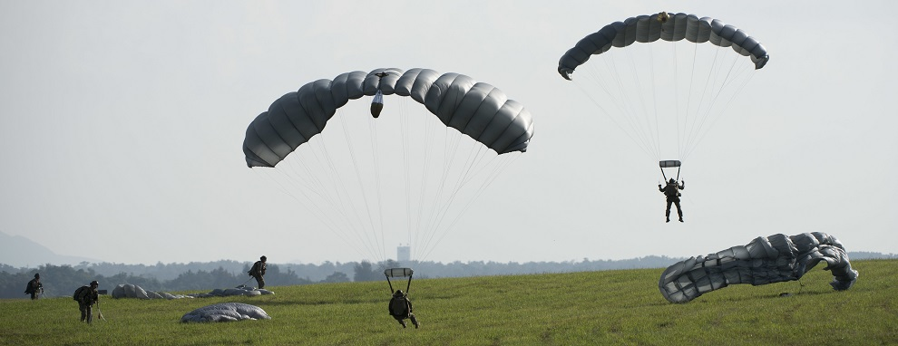 U.S. Air Force Airmen and U.S. Army Soldiers conduct parachute training April 24, 2017, above Kadena Air Base, Japan. Parachute training better enables joint and bilateral long-range rescue and rapid response to humanitarian or security crises.