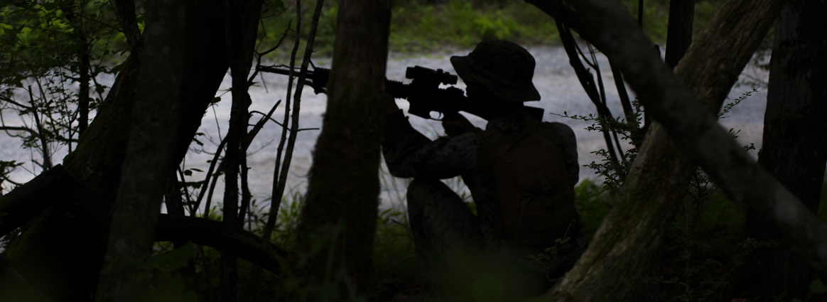 U.S. Marine Corps Cpl. Andrew Adkins, a heavy equipment operator with Marine Wing Support Squadron (MWSS) 171, provides security during a patrol, part of Exercise Eagle Wrath 18, at Combined Arms Training Center Camp Fuji, Japan, July 18, 2018. Eagle Wrath is an annual training exercise designed to increase squadron proficiency in a forward operating environment, test forward command and control structure, and practice for real-world contingency missions.