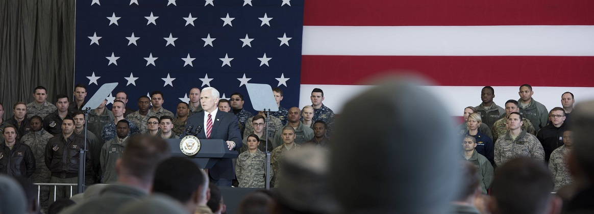 US service members, civilians and members of the Japanese Air Self Defense Force listen to Vice President Michael Pence, during a troop talk, Feb. 8, 2018, at Yokota Air Base, Japan. The Vice President held a troop talk with U.S. and Japanese military members to start off his tour of the Indo-Asia Pacific region.