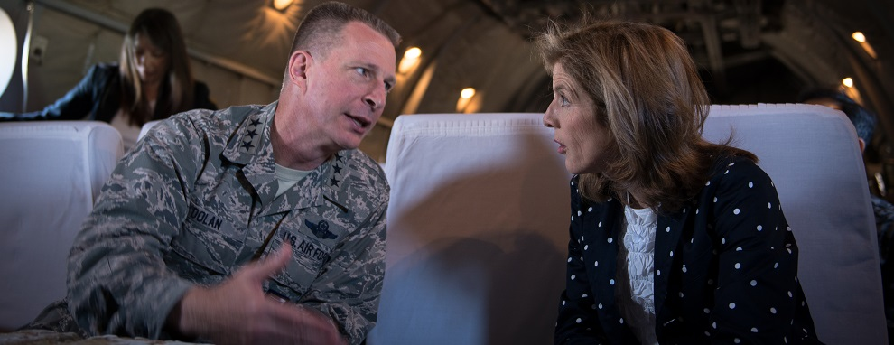 KUMAMOTO, Japan - Lt. Gen. John Dolan, U.S. Forces, Japan and 5th Air Force commander, talks to Caroline Kennedy, U.S. Ambassador to Japan, while flying on a Japanese Air Self-Defense Force C-1 heading to Kumamoto City, Japan, April 29, 2016. Dolan and Kennedy visited Kumamoto Prefecture to get a first-hand look at the devastation caused by the recent earthquakes that hit the region and to show their support of the U.S.-Japan partnership. (U.S. Air Force photo by Staff Sgt. Michael Smith/Released)