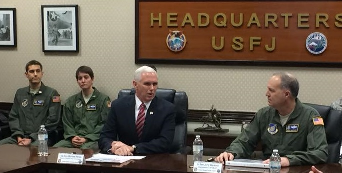 U.S. Forces, Japan welcomes Vice President Mike Pence for a discussion of the regional security situation and how USFJ works to maintain peace and stability in the region.